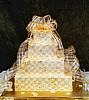 Yellow Checker Wedding Cake with Ribbon Accents